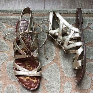 Sam Edelman Greek style lace up sandals. Gold. 8.5